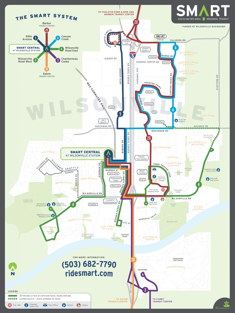 Wilsonville SMART Transit identity: System route map (Creative Director: Matt Giraud)