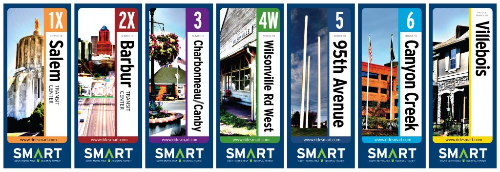 Wilsonville SMART Transit: Route identities and banners (Creative Director: Matt Giraud)