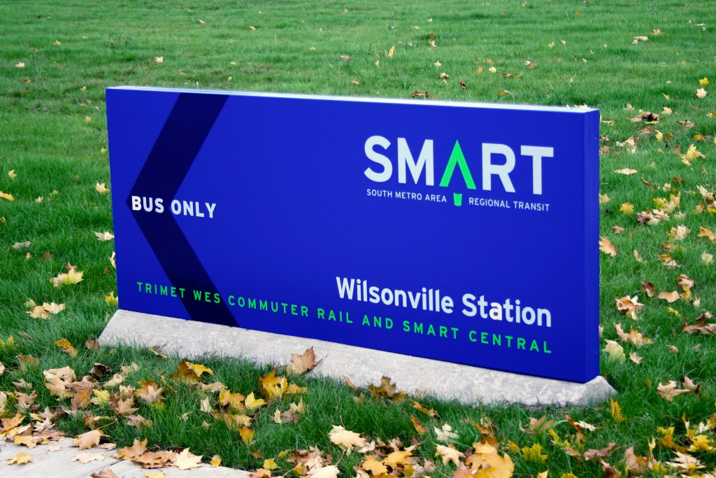 Wilsonville SMART Transit identity: Monument sign (Creative Director: Matt Giraud)