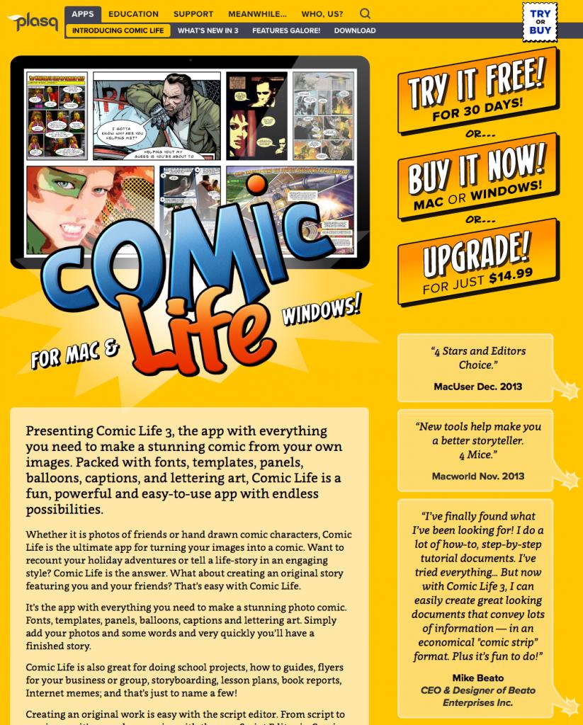 plasq.com: Comic Life product page | UI and art direction by Matt Giraud, Gyroscope Creative