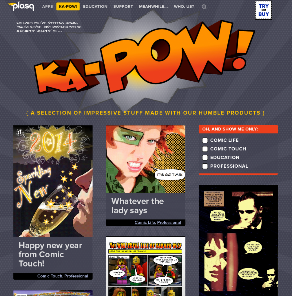 plasq.com: Ka-pow! gallery | UI and art direction by Matt Giraud, Gyroscope Creative
