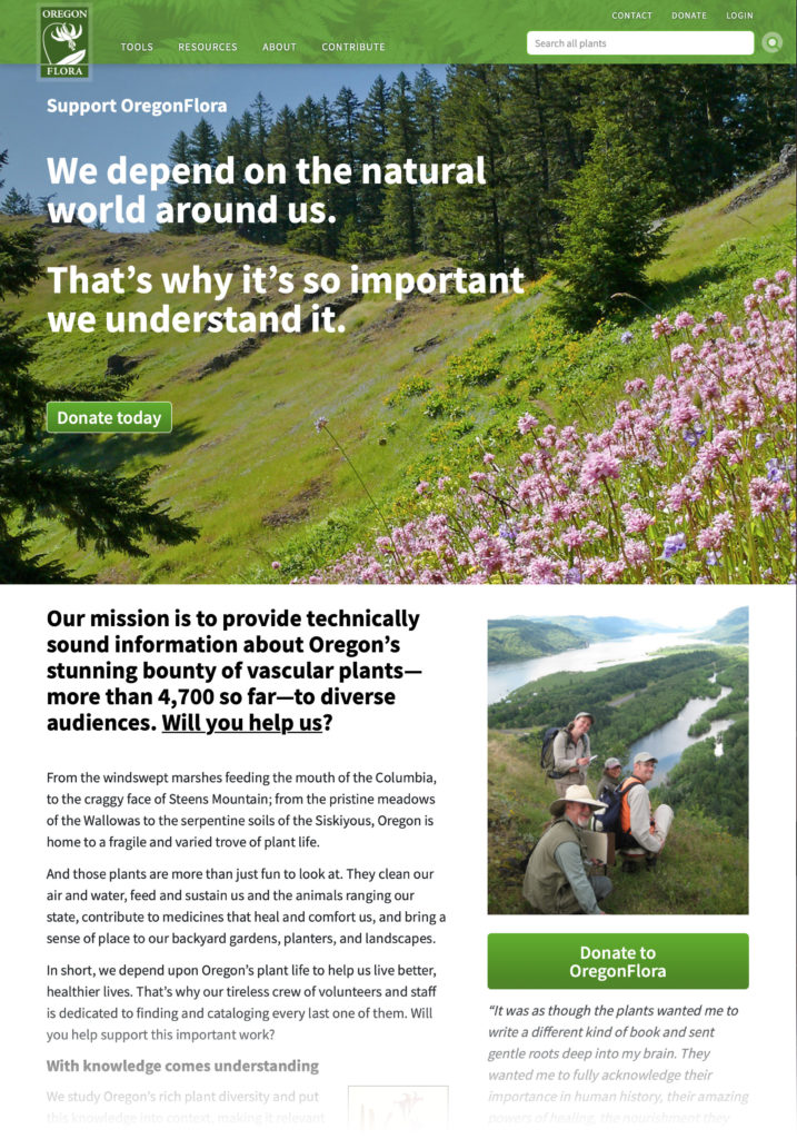 Oregon Flora Donate page (Matt Giraud, Creative Director, Gyroscope Creative)
